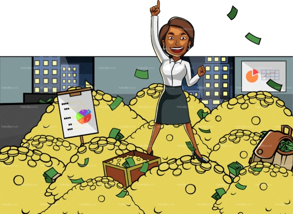 Black business woman standing on pile of gold. PNG - JPG and vector EPS file formats (infinitely scalable). Image isolated on transparent background.