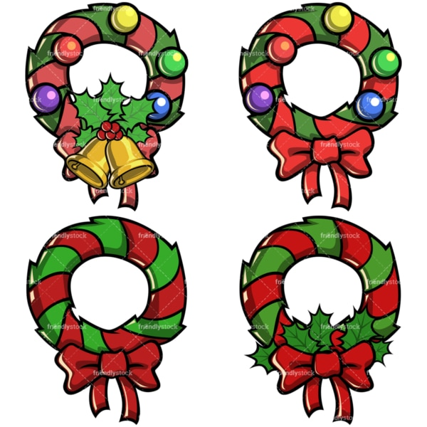 Christmas wreaths. PNG - JPG and vector EPS file formats (infinitely scalable). Image isolated on transparent background.