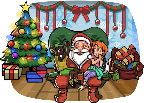 Kids sitting on santa's lap at christmas. PNG - JPG and vector EPS file formats (infinitely scalable). Image isolated on transparent background.