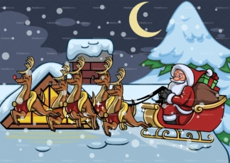 Santa landing on rooftop with reindeer sleigh. PNG - JPG and vector EPS file formats (infinitely scalable). Image isolated on transparent background.