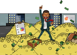Winner black business man amidst a pile of gold. PNG - JPG and vector EPS file formats (infinitely scalable). Image isolated on transparent background.