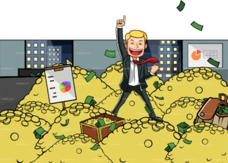 Winner business man in a pile of gold. PNG - JPG and vector EPS file formats (infinitely scalable). Image isolated on transparent background.
