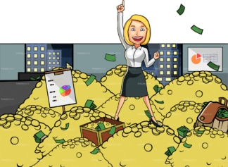 Winning business woman on pile of gold. PNG - JPG and vector EPS file formats (infinitely scalable). Image isolated on transparent background.