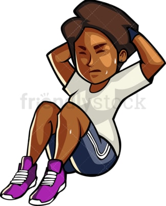 A blAck womAn doing crunches. PNG - JPG and vector EPS file formats (infinitely scalable). Image isolated on transparent background.