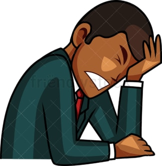 Black businessman facepalming. PNG - JPG and vector EPS file formats (infinitely scalable). Image isolated on transparent background.