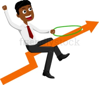 Black businessman riding an arrow going up into the sky. PNG - JPG and vector EPS file formats (infinitely scalable). Image isolated on transparent background.