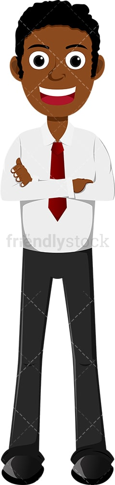 Black businessman with a big smile and his arms crossed. PNG - JPG and vector EPS file formats (infinitely scalable). Image isolated on transparent background.