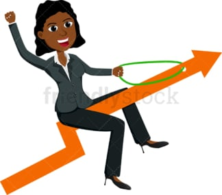 Black businesswoman atop arrow flying up. PNG - JPG and vector EPS file formats (infinitely scalable). Image isolated on transparent background.