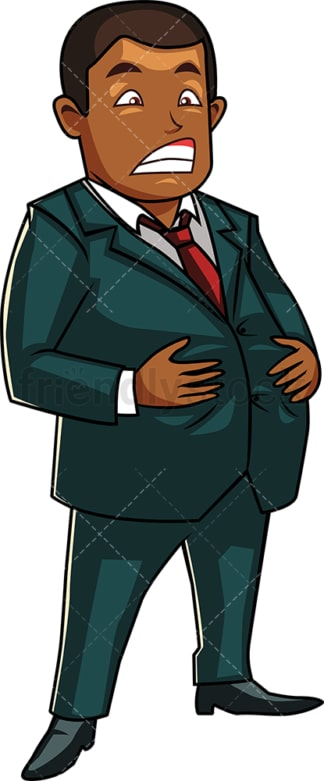 Black corporate man with large belly. PNG - JPG and vector EPS file formats (infinitely scalable). Image isolated on transparent background.