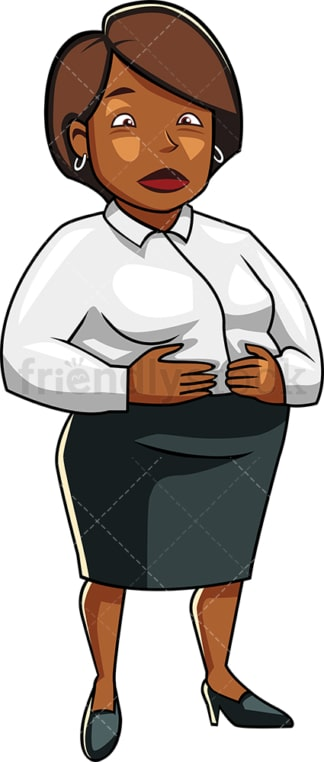 Black corporate woman with large belly. PNG - JPG and vector EPS file formats (infinitely scalable). Image isolated on transparent background.