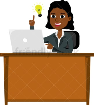 Black female coming up with great idea. PNG - JPG and vector EPS file formats (infinitely scalable). Image isolated on transparent background.