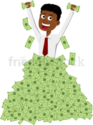 Black man deep in big pile of cash. PNG - JPG and vector EPS file formats (infinitely scalable). Image isolated on transparent background.
