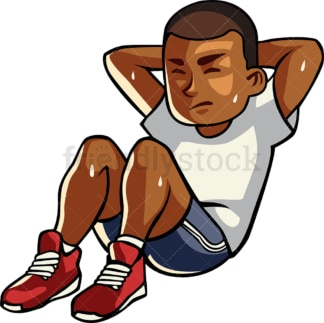 Black man doing crunches. PNG - JPG and vector EPS file formats (infinitely scalable). Image isolated on transparent background.