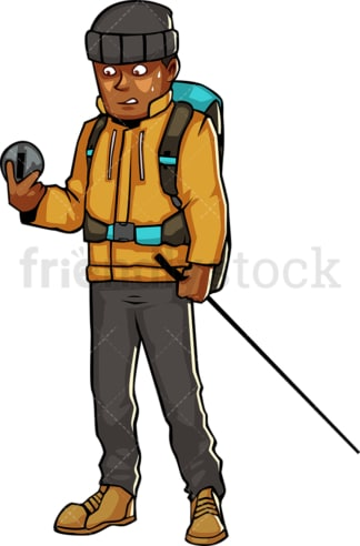 Black man in hiking gear looking at compass. PNG - JPG and vector EPS file formats (infinitely scalable). Image isolated on transparent background.