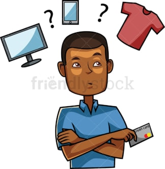 Black man making a buying decision. PNG - JPG and vector EPS file formats (infinitely scalable). Image isolated on transparent background.