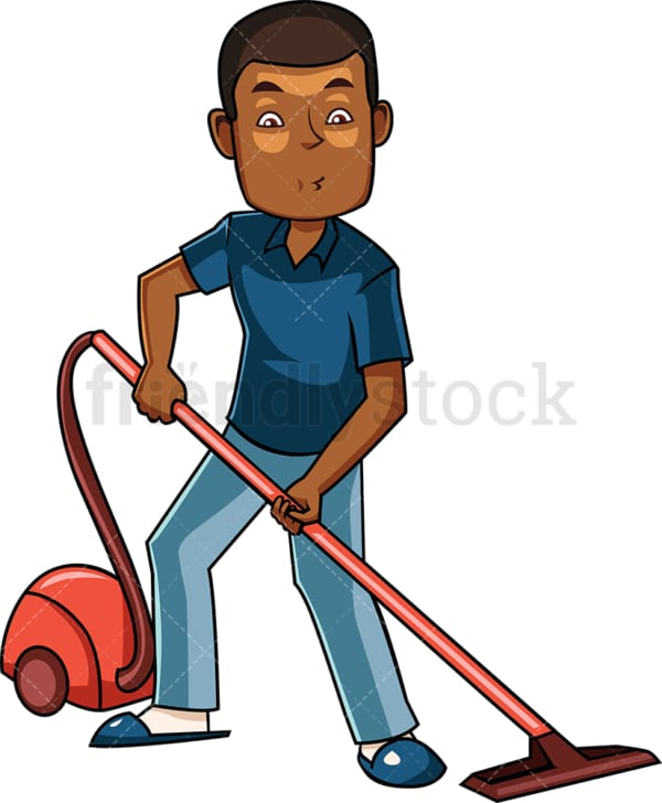 Black man using vacuum cleaner. PNG - JPG and vector EPS file formats (infinitely scalable). Image isolated on transparent background.