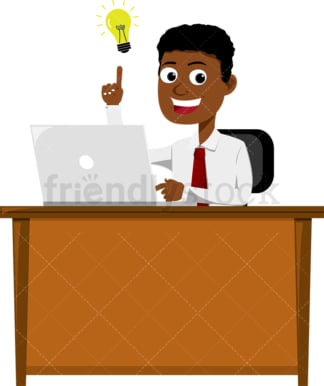 Black man who just came up with an idea at work. PNG - JPG and vector EPS file formats (infinitely scalable). Image isolated on transparent background.