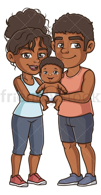 Black parents with baby. PNG - JPG and vector EPS (infinitely scalable).