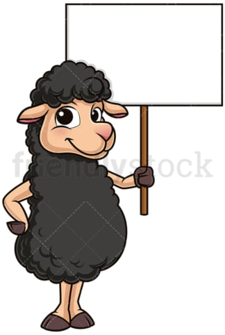 Black sheep holding blank sign. PNG - JPG and vector EPS (infinitely scalable).