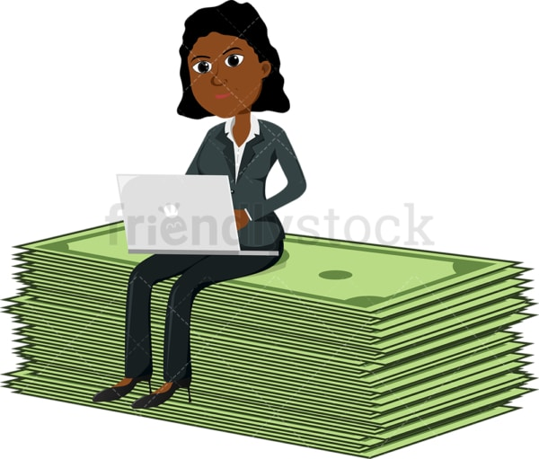 Black woman atop an abnormally large bill strap. PNG - JPG and vector EPS file formats (infinitely scalable). Image isolated on transparent background.