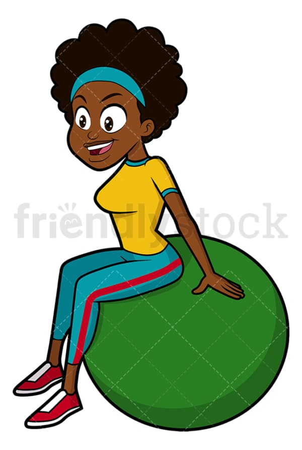 Black woman doing pilates with gym ball. PNG - JPG and vector EPS file formats (infinitely scalable). Image isolated on transparent background.