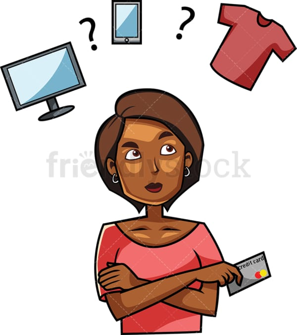 Black woman trying to decide what to buy. PNG - JPG and vector EPS file formats (infinitely scalable). Image isolated on transparent background.