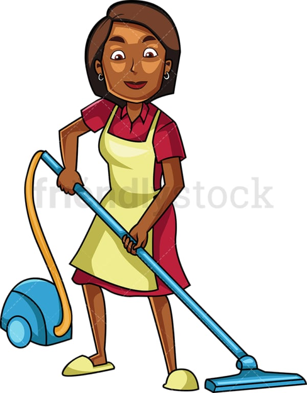 Black woman using canister vacuum. PNG - JPG and vector EPS file formats (infinitely scalable). Image isolated on transparent background.