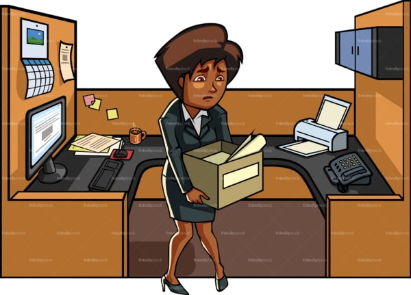 Black woman who just got fired. PNG - JPG and vector EPS file formats (infinitely scalable). Image isolated on transparent background.