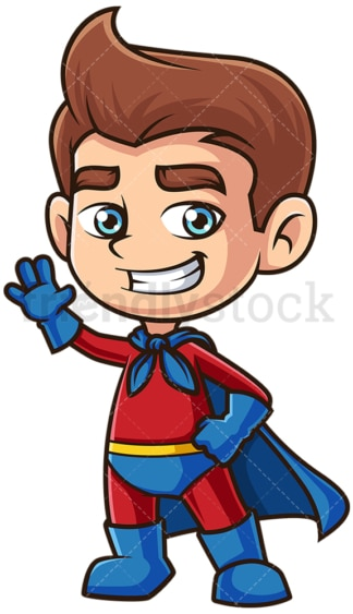 Boy superhero waving. PNG - JPG and vector EPS (infinitely scalable).