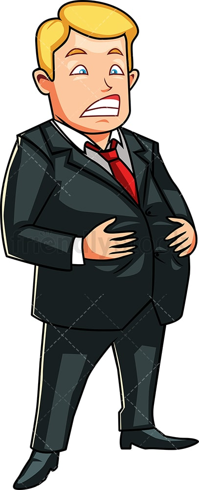 Business man holding his large belly. PNG - JPG and vector EPS file formats (infinitely scalable). Image isolated on transparent background.