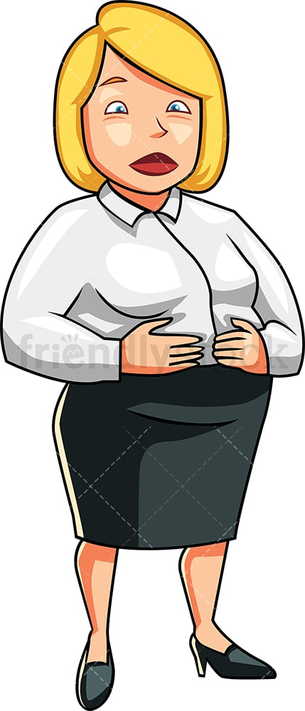 Business woman holding her large belly. PNG - JPG and vector EPS file formats (infinitely scalable). Image isolated on transparent background.