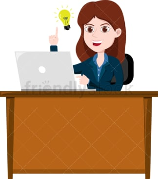 Woman coming up with great idea at the office. PNG - JPG and vector EPS file formats (infinitely scalable). Image isolated on transparent background.