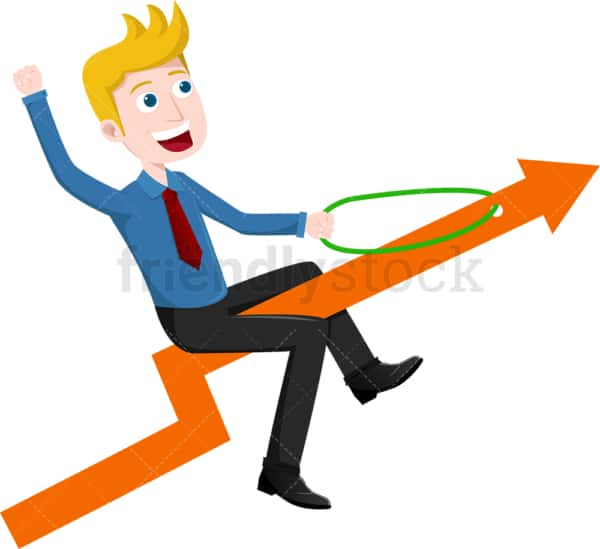 Businessman atop arrow pointed up into the sky. PNG - JPG and vector EPS file formats (infinitely scalable). Image isolated on transparent background.