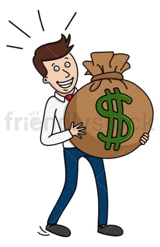 Businessman carrying large money bag. PNG - JPG and vector EPS (infinitely scalable).