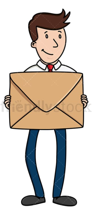 Businessman holding mail envelope. PNG - JPG and vector EPS (infinitely scalable).