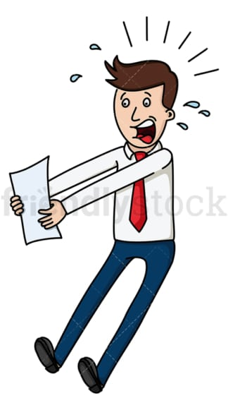 Businessman jumping after seeing a report. PNG - JPG and vector EPS file formats (infinitely scalable). Image isolated on transparent background.