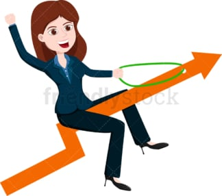 Businesswoman atop an arrow going upwards. PNG - JPG and vector EPS file formats (infinitely scalable). Image isolated on transparent background.