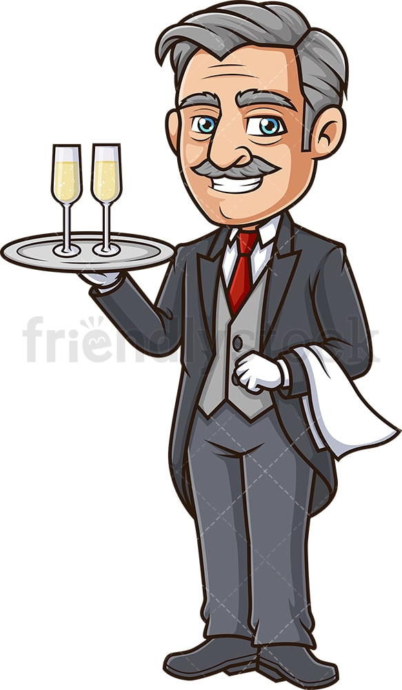 Butler serving champagne. PNG - JPG and vector EPS (infinitely scalable).