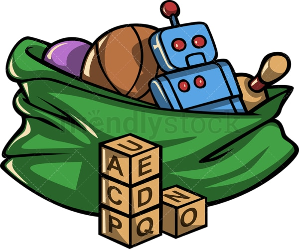 Christmas bag full of toys. PNG - JPG and vector EPS file formats (infinitely scalable). Image isolated on transparent background.
