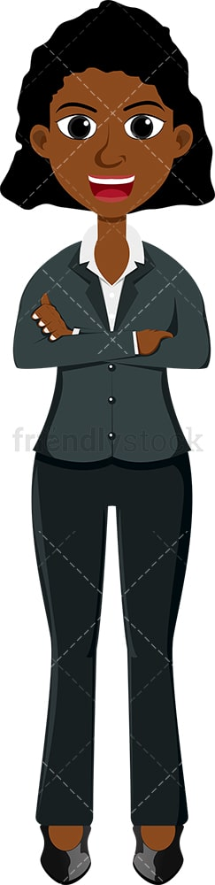 Confident black female crossing her arms. PNG - JPG and vector EPS file formats (infinitely scalable). Image isolated on transparent background.