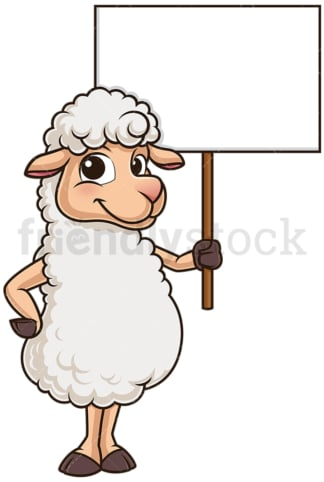 Cute sheep holding blank sign. PNG - JPG and vector EPS (infinitely scalable).