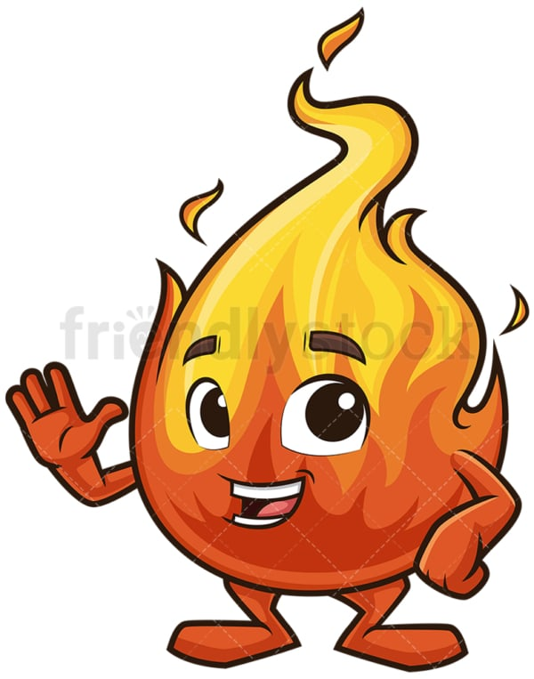 Flame mascot waving. PNG - JPG and vector EPS (infinitely scalable).