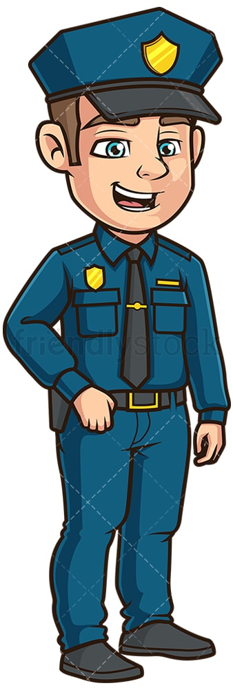 Friendly police officer side view. PNG - JPG and vector EPS file formats (infinitely scalable). Image isolated on transparent background.