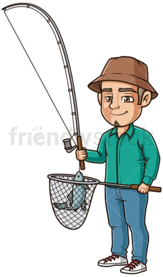 Hispanic man fishing. PNG - JPG and vector EPS (infinitely scalable).