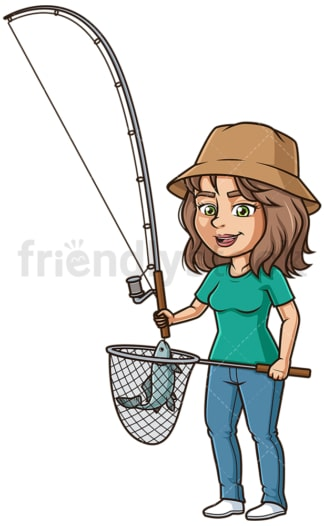 Hispanic woman fishing. PNG - JPG and vector EPS (infinitely scalable).