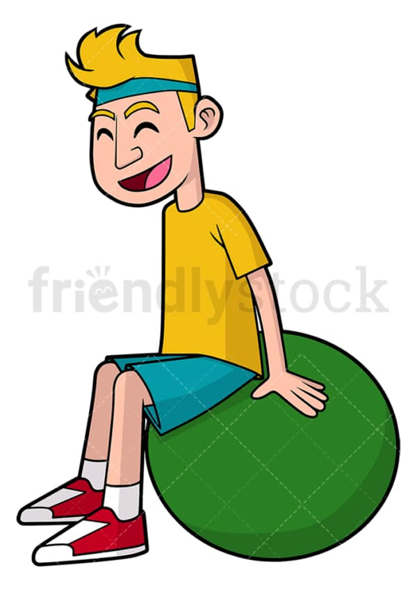 Man doing pilates with gym ball. PNG - JPG and vector EPS file formats (infinitely scalable). Image isolated on transparent background.