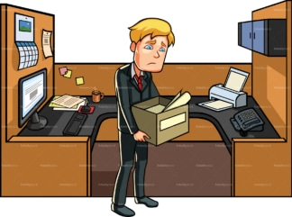 Man in cubicle after getting fired. PNG - JPG and vector EPS file formats (infinitely scalable). Image isolated on transparent background.