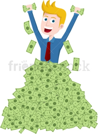 Man standing waist deep in pile of money. PNG - JPG and vector EPS file formats (infinitely scalable). Image isolated on transparent background.