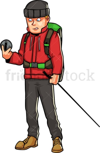 Man with hiking gear looking at compass. PNG - JPG and vector EPS file formats (infinitely scalable). Image isolated on transparent background.