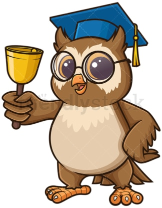 Owl teacher ringing school bell. PNG - JPG and vector EPS (infinitely scalable).